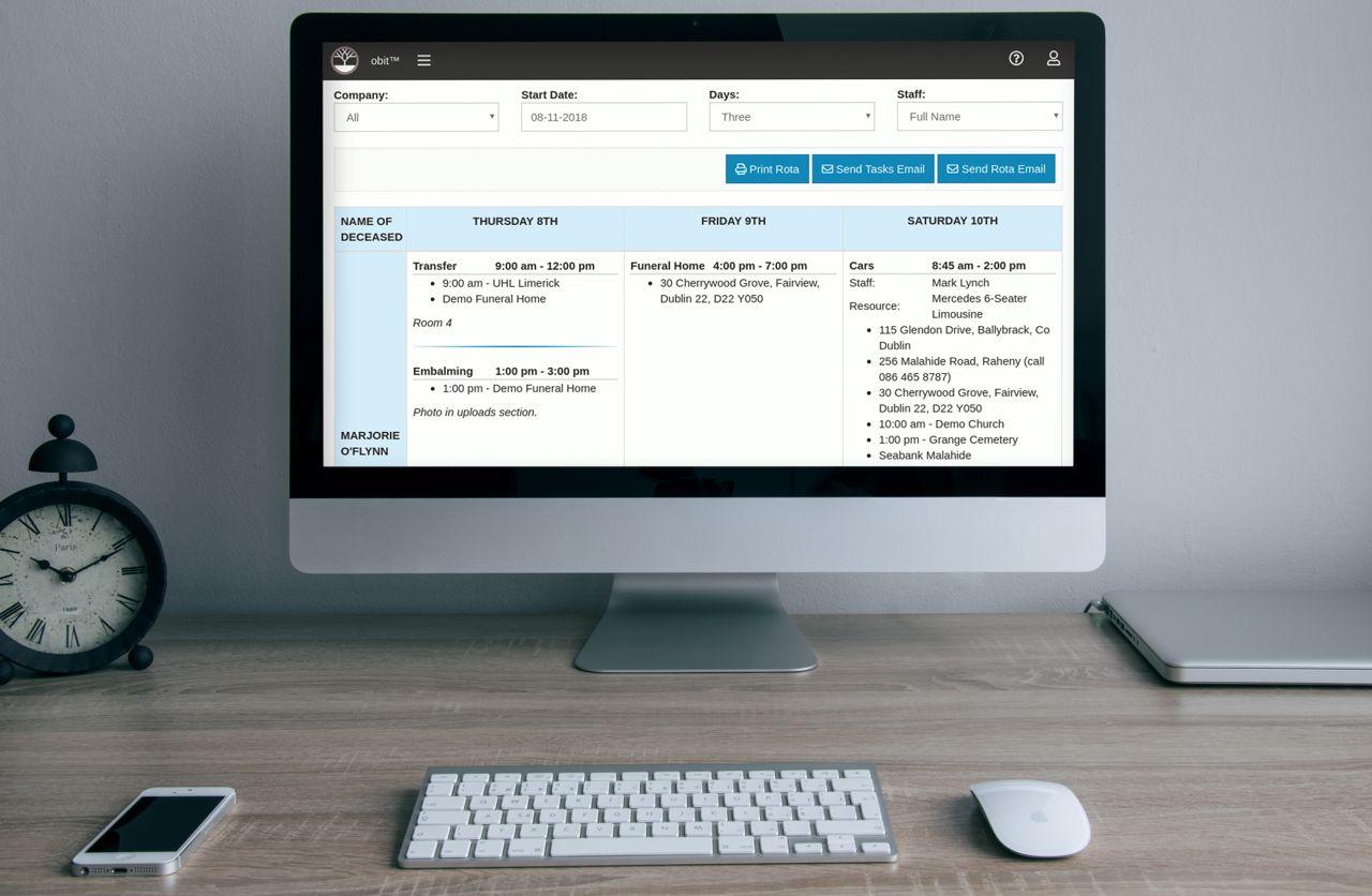 Funeral software screenshot