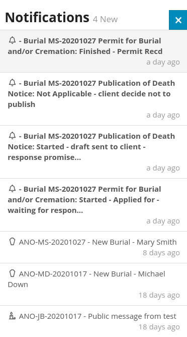 Notifications in Obit Funeral Software