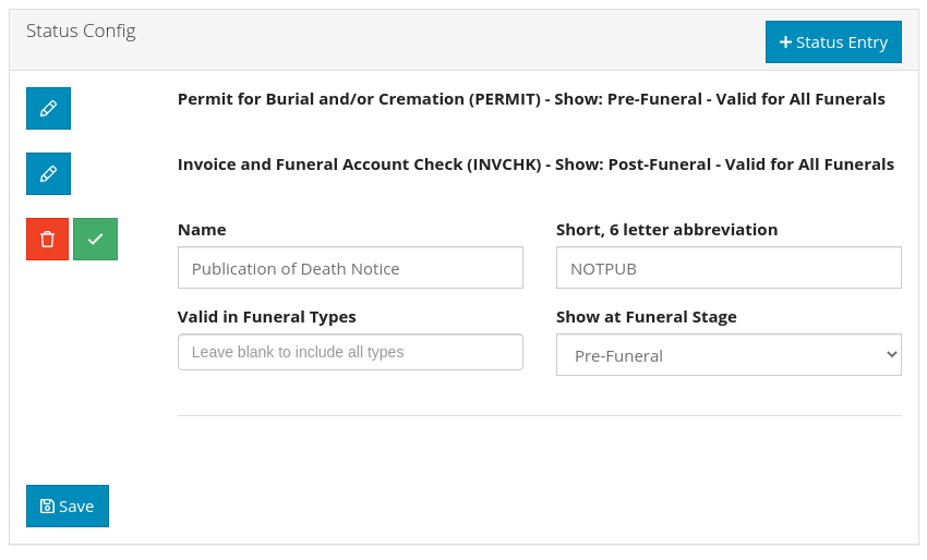 Obit Funeral Software Status page